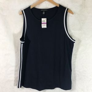 INC Navy Blue Tank Top With White Stripes